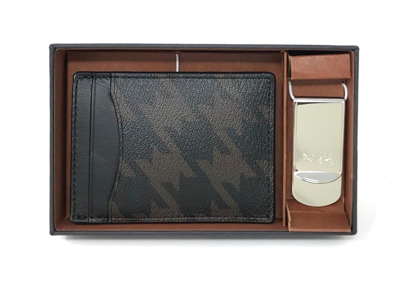 Coach Boxed 3-In-1 Card Case Gift Set With Houndstooth Print Money Clip F37887