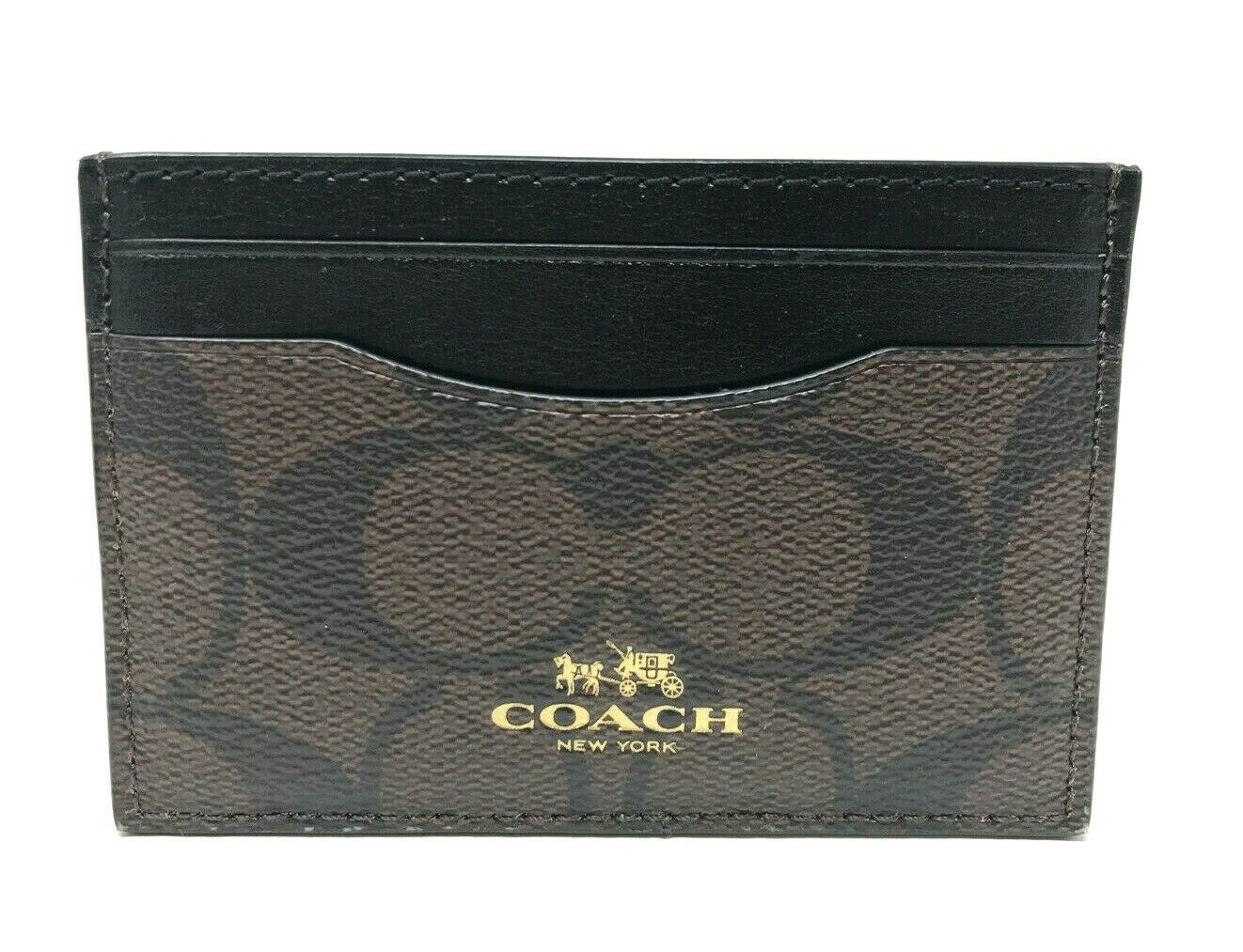Coach Flat Credit Card Case Crossgrain Leather Card Holder