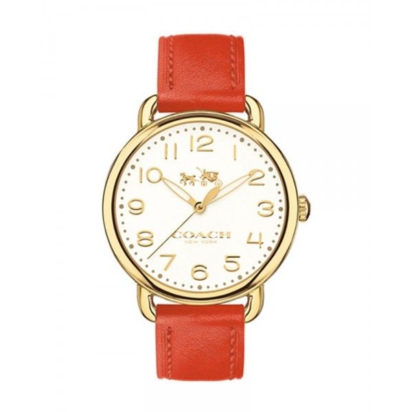 Coach Women's Delancey Coral Leather Strap Watch 36mm 14502719 $250