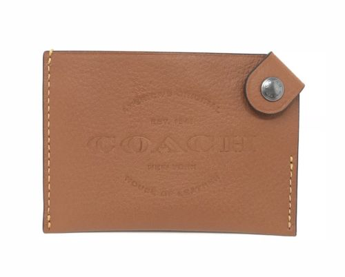 Coach Men's Credit Card Case Natural Smooth Leather Saddle Wallet F24659 $75