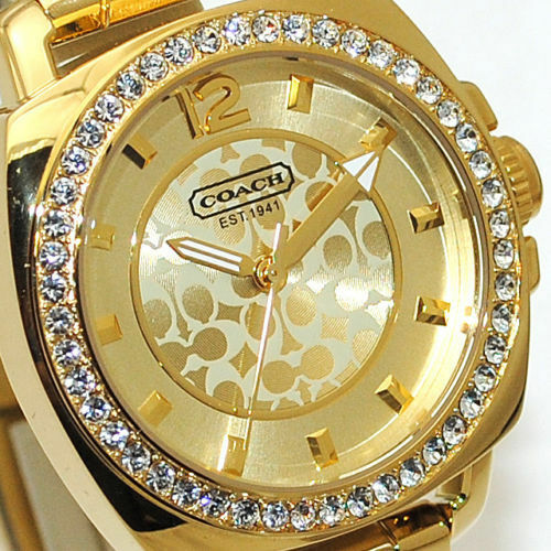 Coach Boyfriend Logo Women's Watch Yellow Gold SS Swarovski Mini 14501700 $275