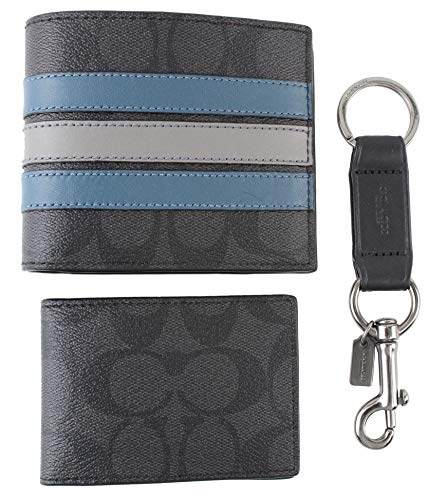 Coach Boxed 3-IN-1 Wallet Gift Set in Signature Canvas With Varsity Stripe - F37944