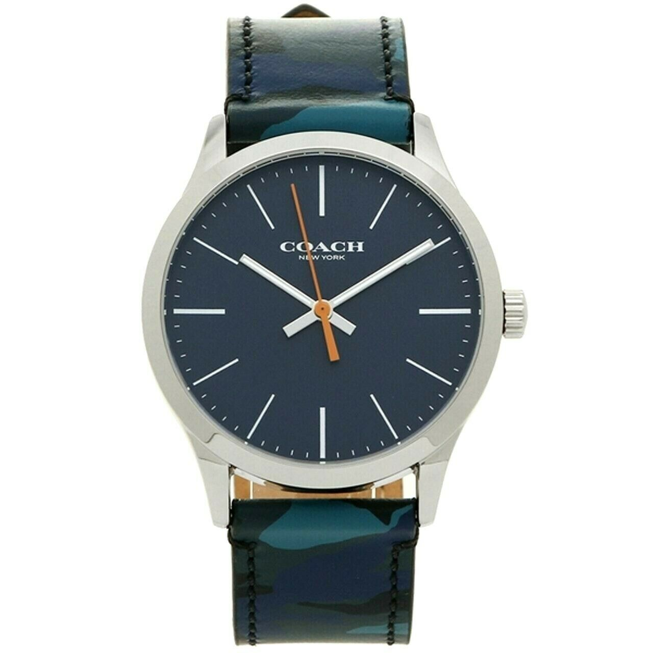 Coach Men's Watch 14602370 Blue Black Grey Camouflage Leather Strap Black $175