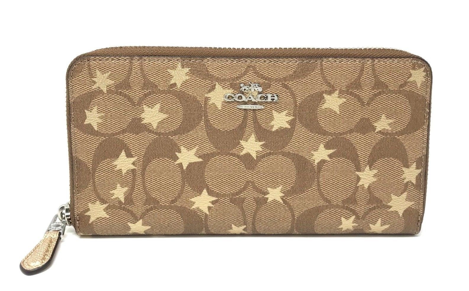 Coach Accordion Zip Wallet In Signature Canvas With Pop Star Print F39085 $250