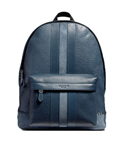 COACH CHARLES BACKPACK WITH BASEBALL STITCH (F11250) BLACK ANTIQUE NICKEL/DENIM