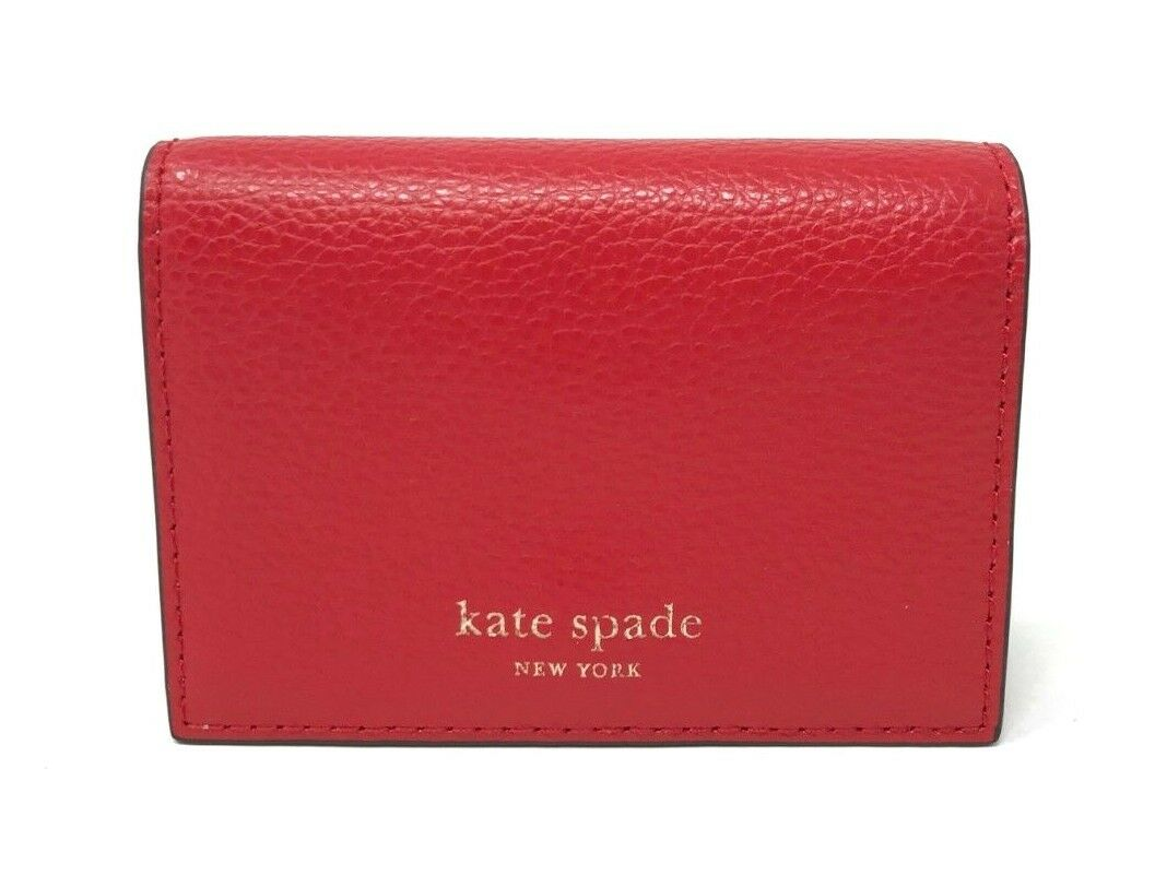 Kate Spade Eva Accordion Hot Chili Beige Card Case Small Wallet WLRU5235 $89