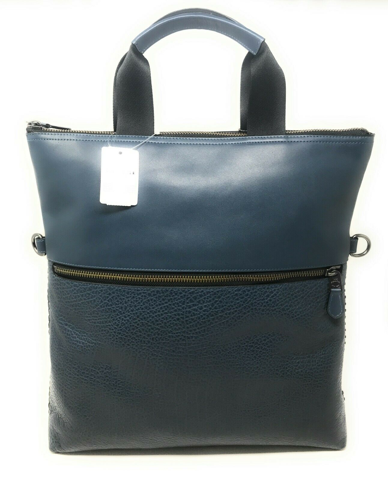 Coach F11241 Men's Charles Foldover Tote With Baseball Stitch Denim Bag $550