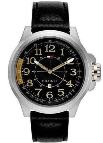 Tommy Hilfiger Mens Grey Dial Black leather Strap Watch 1790843 $120