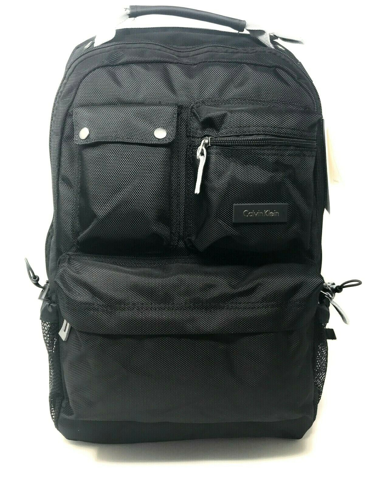 Calvin Klein Black Men's Backpack Laptop Bag Polyester Luggage Travel