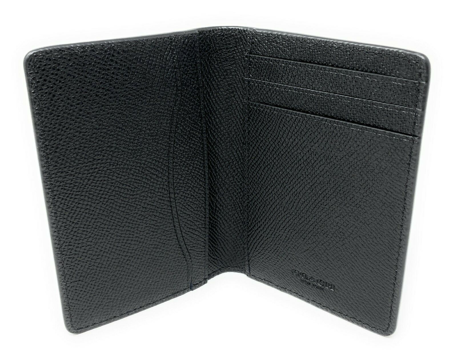 Coach Men's Card Case Wallet Black Crossgrain Leather F66574