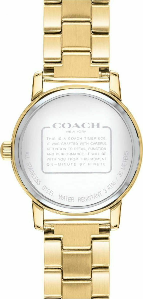 Coach Grand Ladies Analog Business Gold Band Stainless Steel 14503056 $195