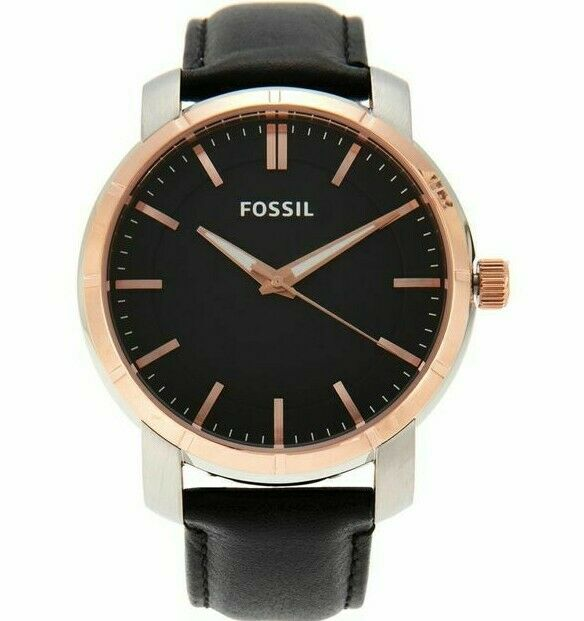 Fossil BQ1286 Men's Lance Black Rose Gold Dial Black Leather Strap Watch
