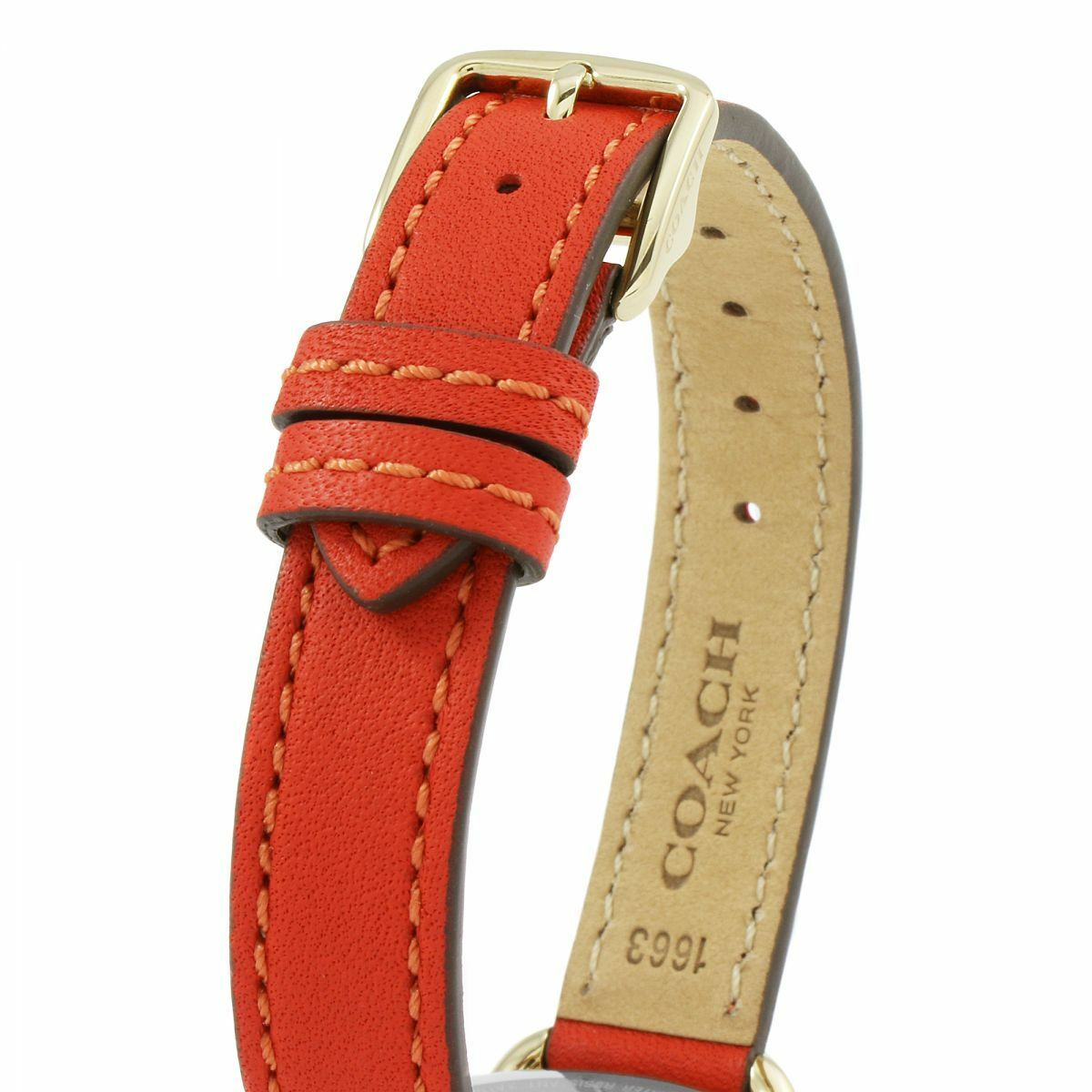 Coach Women's Delancey Gold Case Red Leather Strap Watch 28mm 14502710 $250