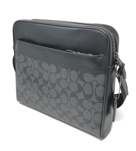 Coach F28456 Men's Charles Camera Bag in Signature PVC Charcoal Black $350