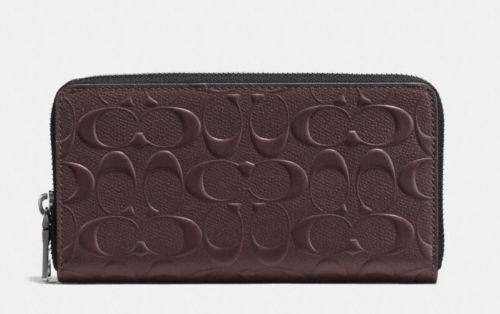 Coach F58113 Men's Signature Accordion Mahogany Crossgrain Leather Wallet $250