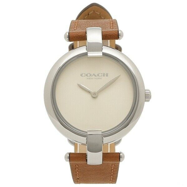 Coach Chrystie Women's Watch White Analog Watch Brown Leather 14503198 $225