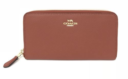 Coach F16612 Pebble Leather Accordion Zip Women's Wallet Terracotta $250