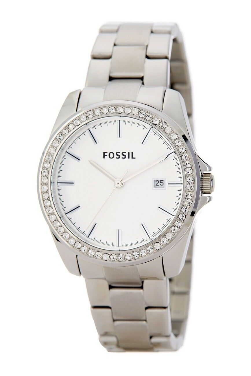 Fossil Silver Glitz Dial Stainless Steel Women's Watch BQ3188