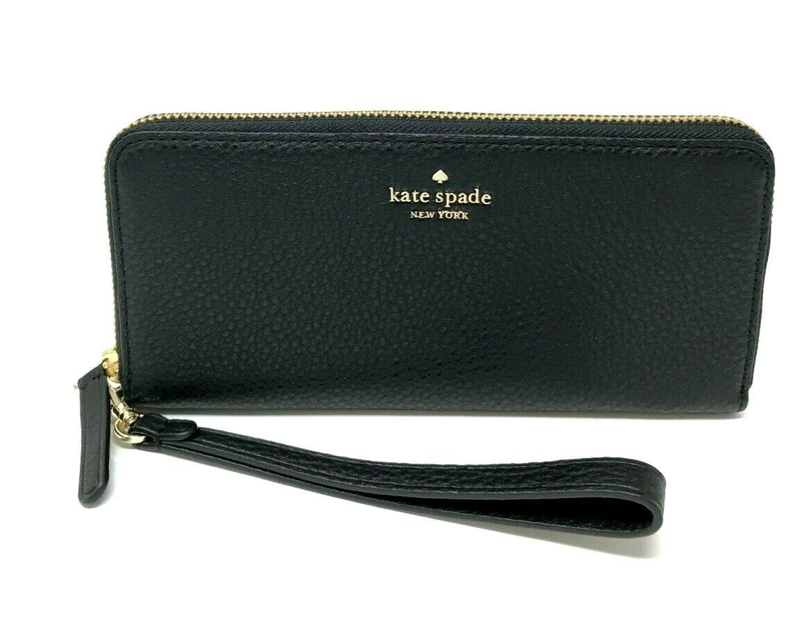 Kate Spade Jackson Slim Continental Wallet Black Leather Wallet WLRU5469 $189