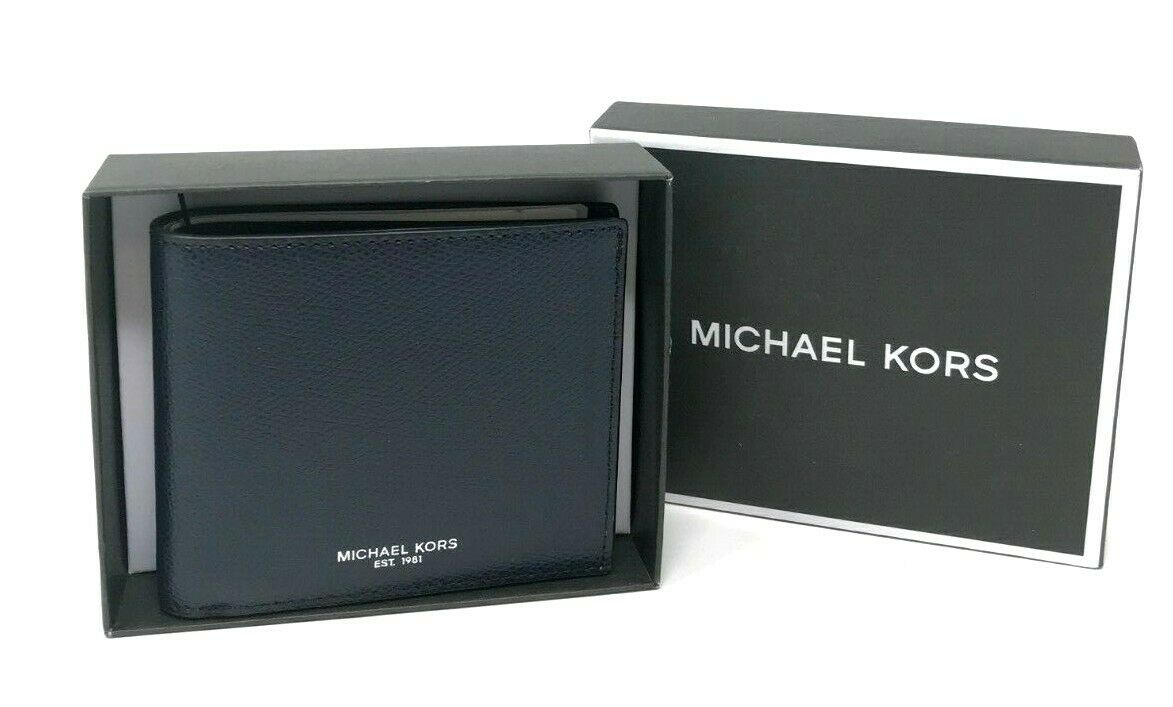 Michael Kors Warren Men's Navy Leather Billfold Wallet in Gift Box 36T7LWRF1L $118