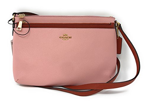 Coach Colorblock Crossgrain Leather East West Pop Crossbody, Blush, Terracotta