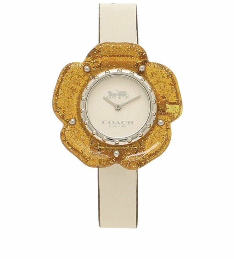 Coach Women's Perry Chalk Leather Strap Watch 36mm 14503050 $195