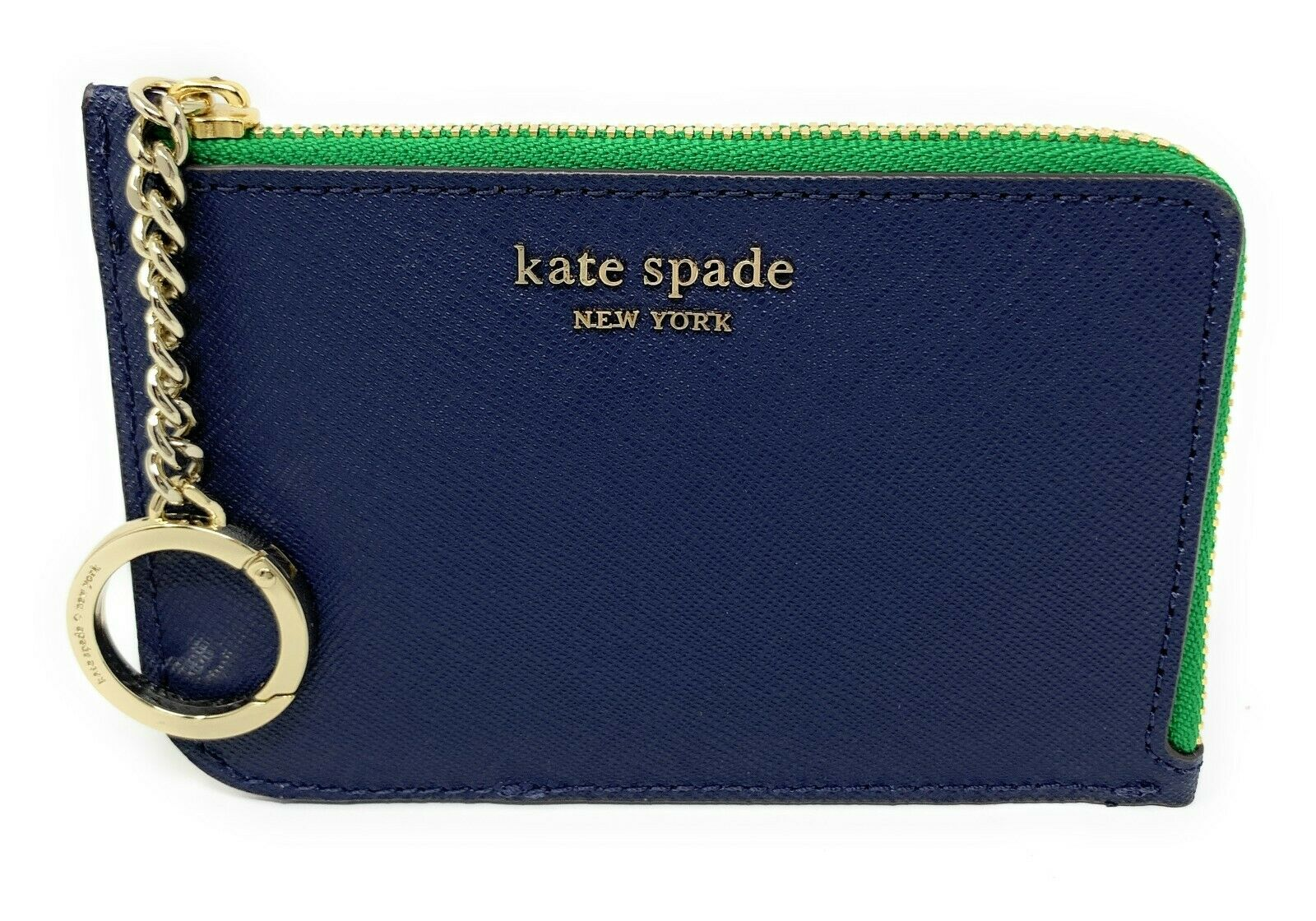 Kate Spade Cameron Medium L-Zip Card Holder Blazer Blue / White / Green WLRU5439 $89