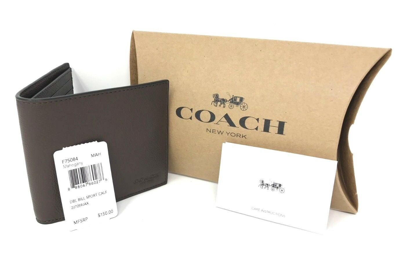 Coach F75084 Men's Double Billfold Sport Calf Mahogany Leather Wallet $150