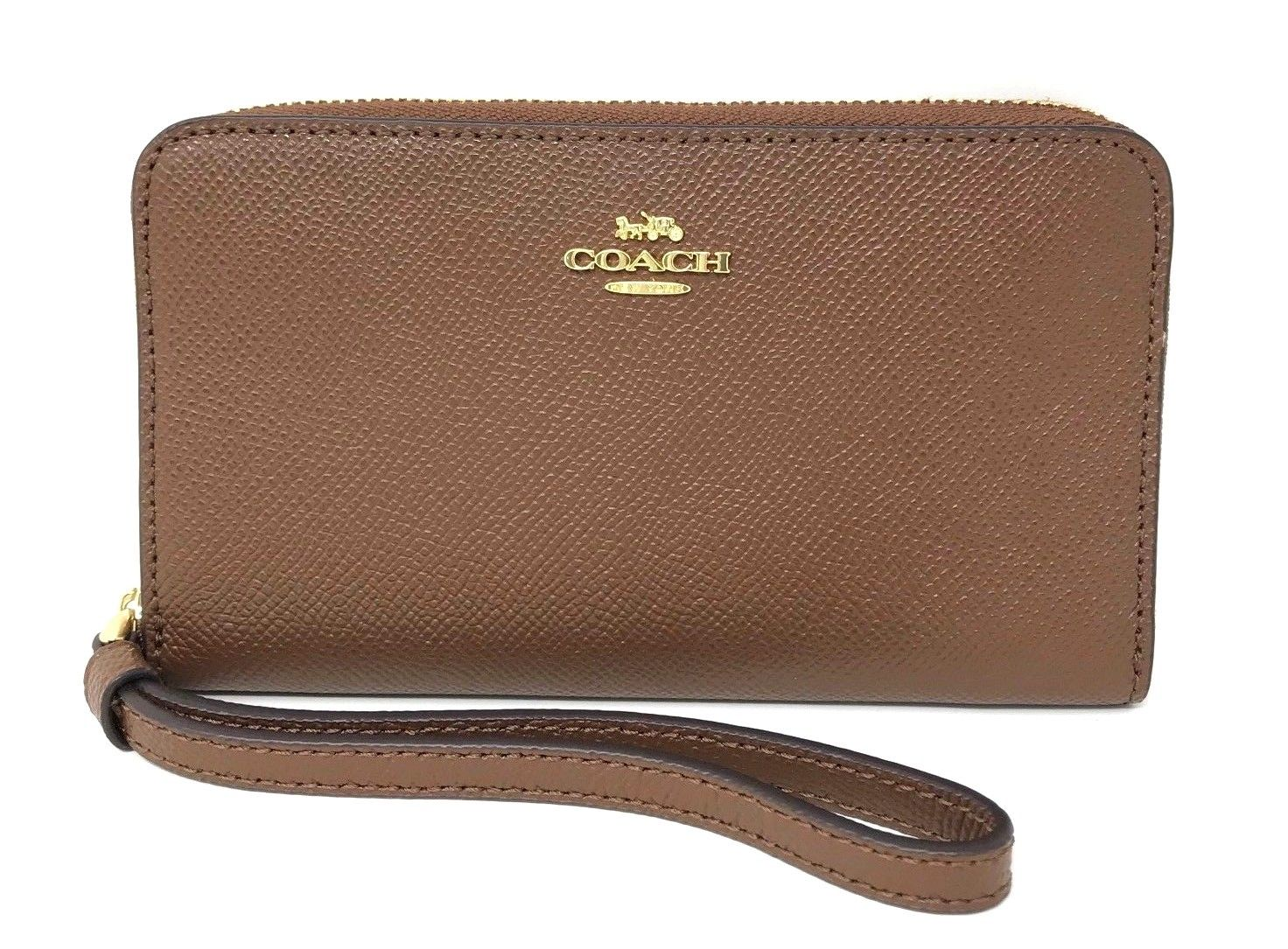 Coach Crossgrain Saddle Leather Phone Wallet Clutch F58053 $165