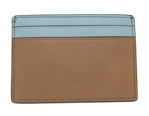 Coach Glitter Cheeky Leather Flat Card Case F23774 Mini Wallet $75
