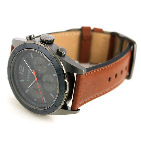 Coach Men's Chronograph Sullivan Sport Brown Leather Strap Watch 44mm 14602135