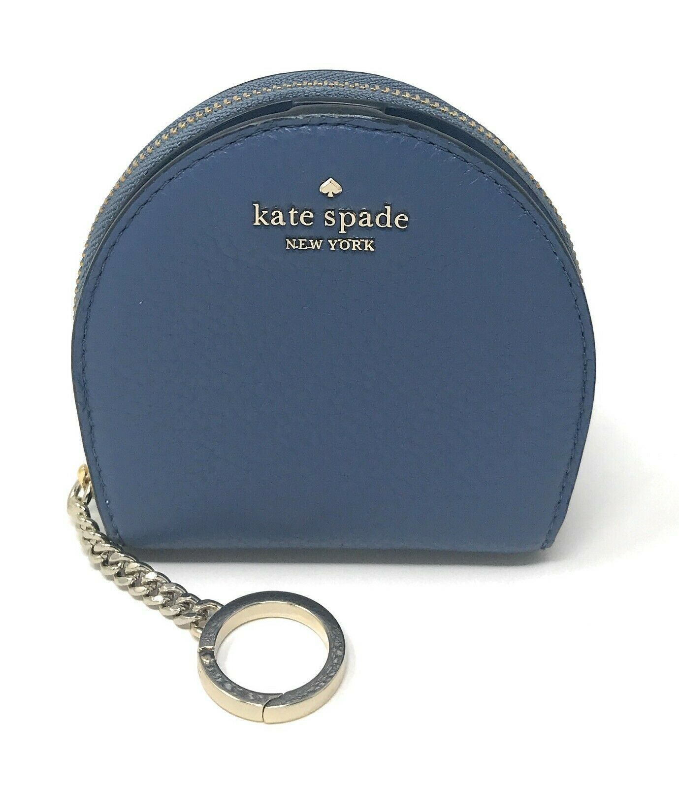 Kate Spade Jackson Half Moon Blue Wallet Coin Key Chain WLRU5465 $99