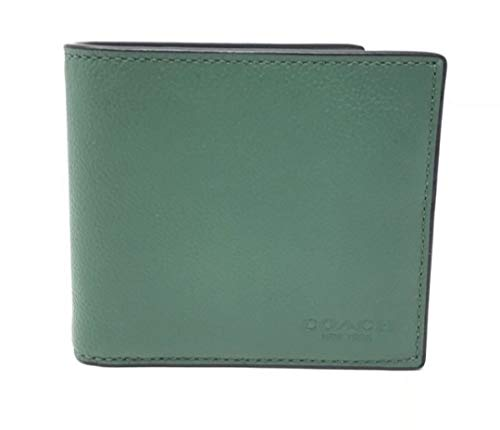 COACH DOUBLE BILLFOLD SPORT CALF LEATHER, F75084 (Green/Black Antique Nickel)