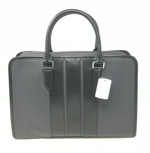 Coach F72309 Men's Bond Briefcase Bag In Midnight Black Pebble Leather $595