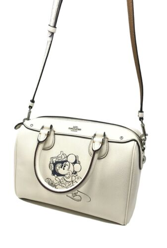 Coach Disney Minnie Mouse Mini Bennett Bag Leather Chalk F29356
