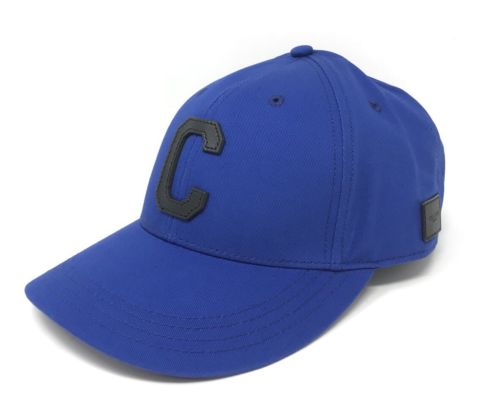 Coach F86147 Unisex Varsity C Black Cap Hat Royal Blue Adjustable Leather $85