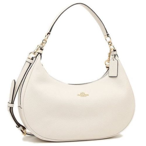 Coach F38250 Harley East West Hobo In Pebble Leather Chalk crossbody Bag $375