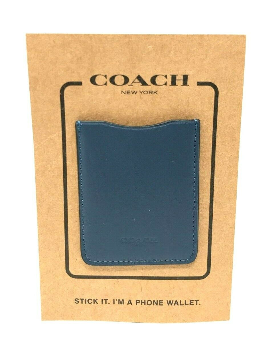 Coach Cell Phone Pocket Stickers Card Case Leather Denim F24051 $35