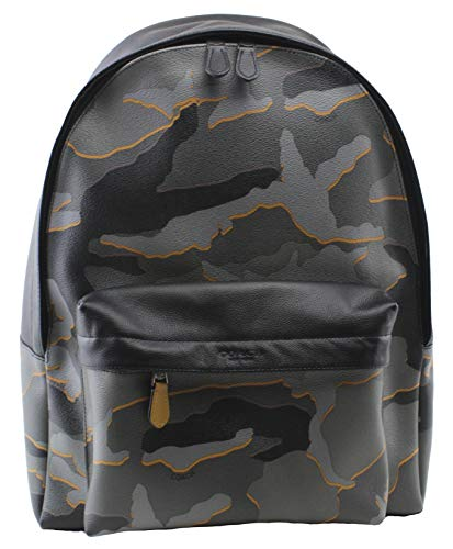 Coach Men's Charles West Backpack Camouflage in Grey Multi Leather, Style F31557