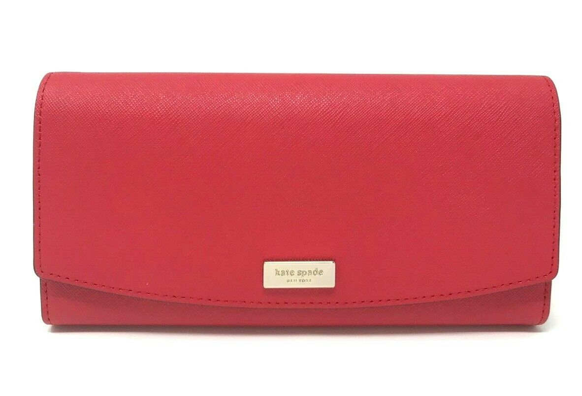 Kate Spade Caia Laurel Way Hot Chili Leather Trifold Clutch Wallet WLRU4875 $189