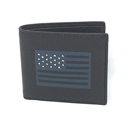 Coach F29300 Men's Black Billfold American Flag Black Pebble Leather Wallet
