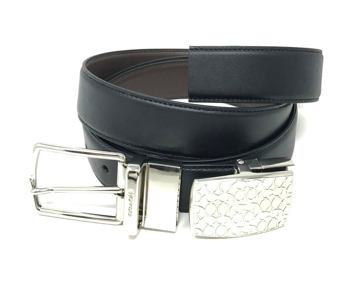 Coach Men's Black Brown Leather Reversible Belt Box Set Cut to Size F65185 $195