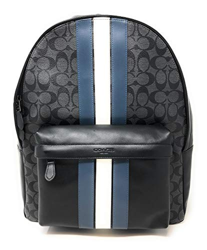COACH CHARLES BACKPACK IN SIGNATURE CANVAS WITH VARSITY STRIPE, F26066,MIDNIGHT NVY/DENIM/CHALK/BLACK ANTIQUE NICKEL