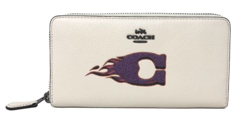 Coach F23460 Accordion Zip Wallet With Flame Motif Chalk Pebble Leather $295
