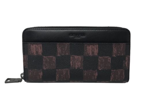 Coach F22542 Men's Accordion Wallet With Graphic Checker Print Oxblood $250