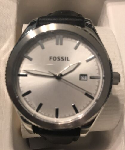 New Fossil Stainless Steel Three Hand Dial Black Leather BQ3186 Women's Watch $125