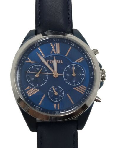 NWT Fossil Ladies Blue Dial Leather Strap Chronograph Watch BQ3216 $155