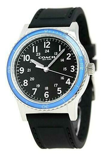 Coach Analog Casual New York Black Men's Watch Rubber 14602068 $225
