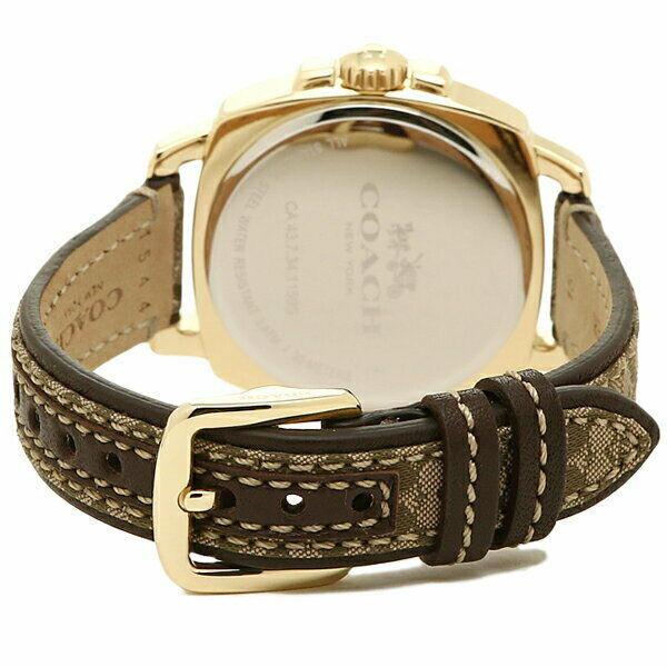 Coach Boyfriend Women's Brown Leather/Fabric Gold Tone Steel Watch 14502509 $250