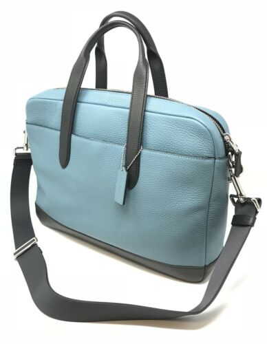 Coach F29034 Men's Hamilton Cyan Pebble Leather Laptop Bag Briefcase $450